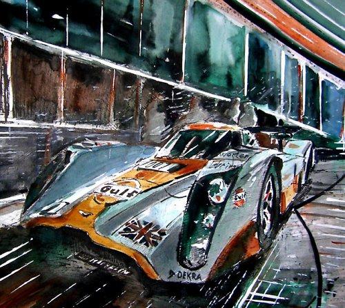 Akvarel, Aston Martin, Lola, Moderní obraz