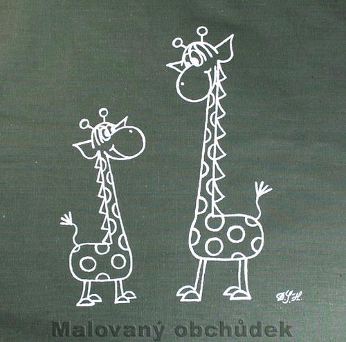 Malovaná taška s žirafkami