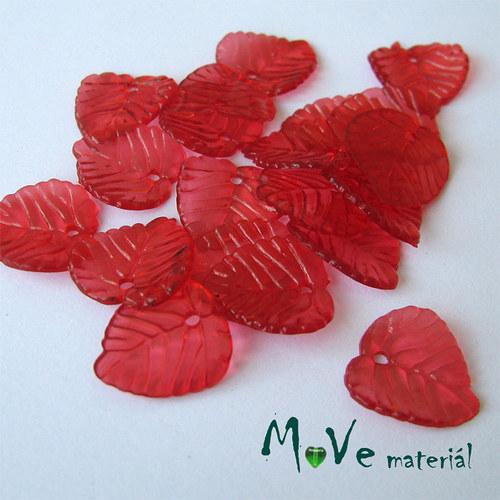 Akrylové transparentní lístečky, 20ks, červené