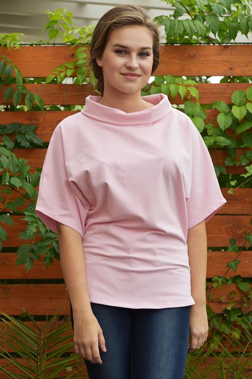 Růžové tričko s rolákem