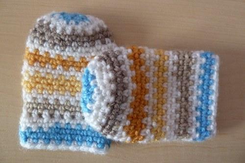 Háčkované kojenecké rukavičky 3m+