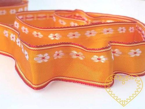 Oranžová textilní stuha s kvítky