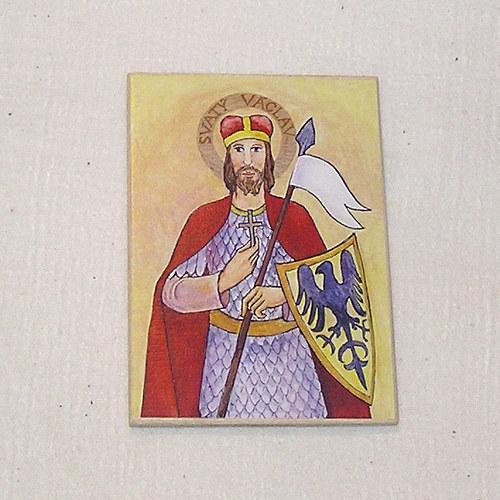 Obrázek na dřevě 7x10cm - sv. Václav