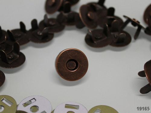 19165-10 Magnetické zapínání měď 18mm,  MEGA 10ks