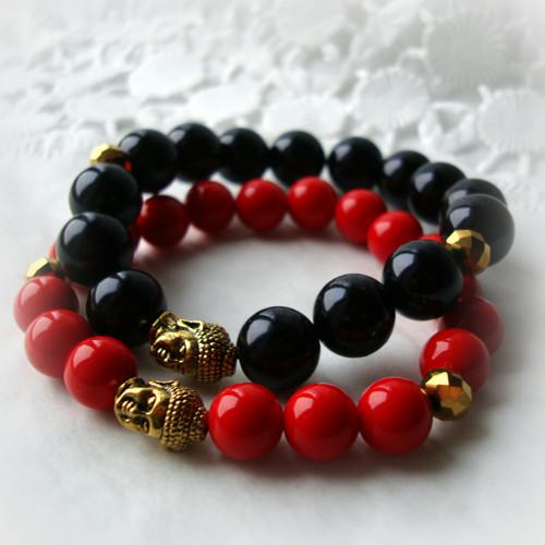 buddha náramek - červený, černý