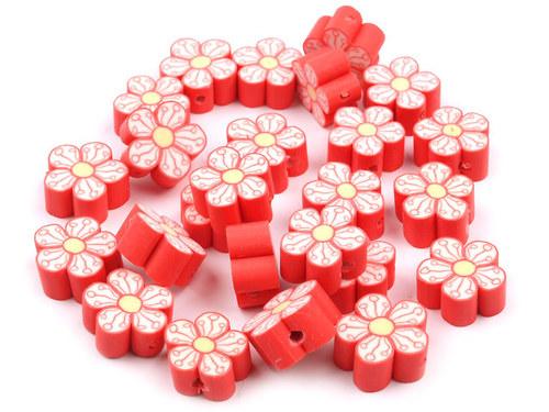 2200906/Fimo korálek květina červená, 3 ks