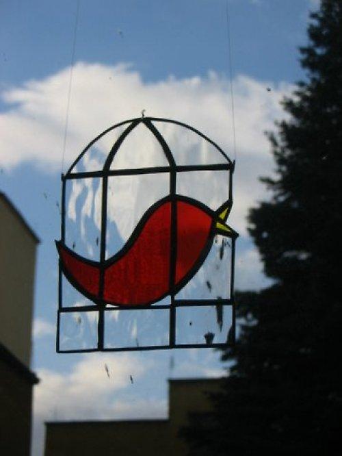 ptáček v kleci-červený,modrý