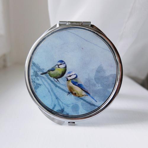 Zrcátko modré s velkými ptáčky
