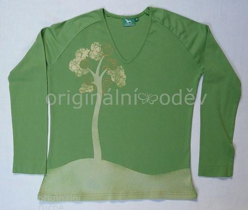 SLEVA: Malované tričko dámské - strom - zelené