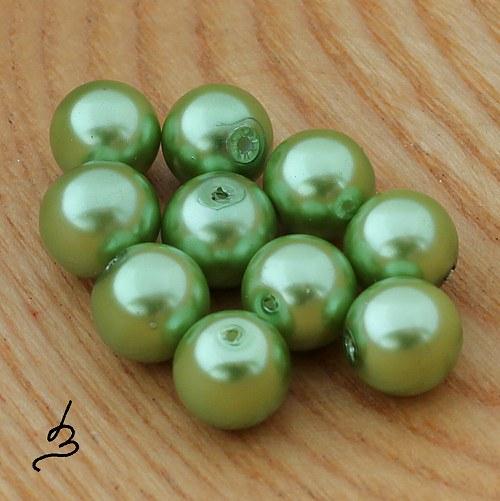 Voskové perle zelené SV 10 mm - 10 ks