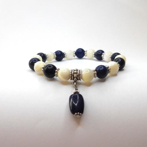 náramek lápis lazuli s perletí