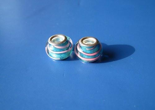 Korálky skleněné - 2ks-modrá s růž.proužkem