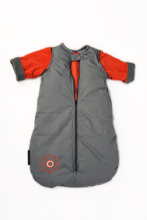 spací pytel menší s fleecovými rukávy šedo-oranž.
