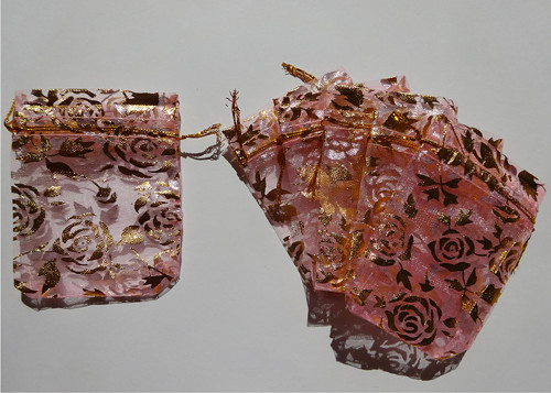 Květiny zlaté - růžový sáček (7x9)