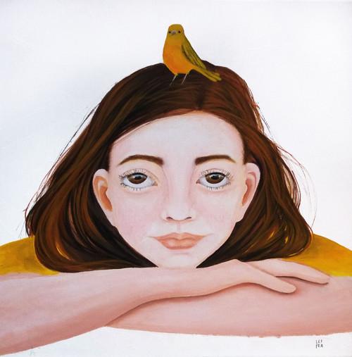 Žluté ptáče - 40x40cm