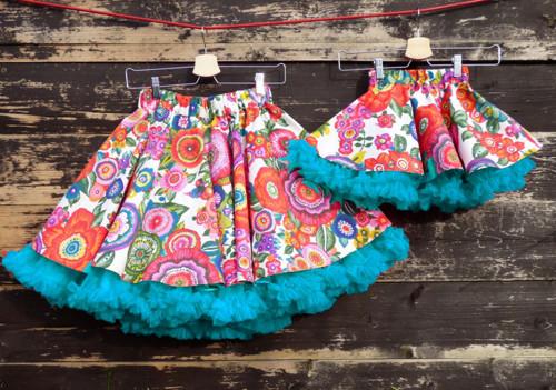 FuFu sukně duo - květy s tyrkysovou spodničkou