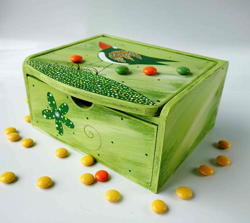 Šperkovnice se zrcadlem - zelená s ptáčkem