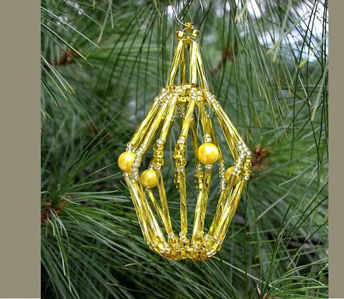 Vánoční ozdoba - žlutý košíček Vo-OZ 011