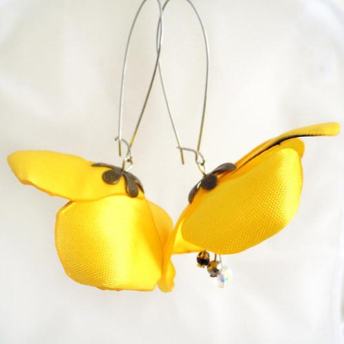 Náušnice: Sytě žluté květy