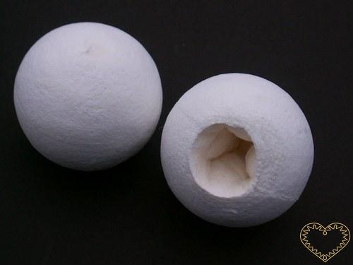 Bílá vatová hlavička - otvor na prst - sada 10 ks