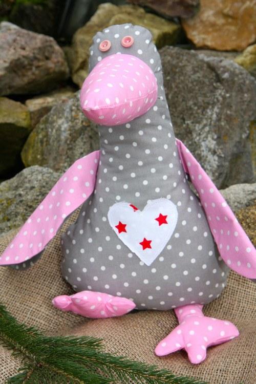 Cáklá kačena šedá - růžová  křidýlka s puntíkem
