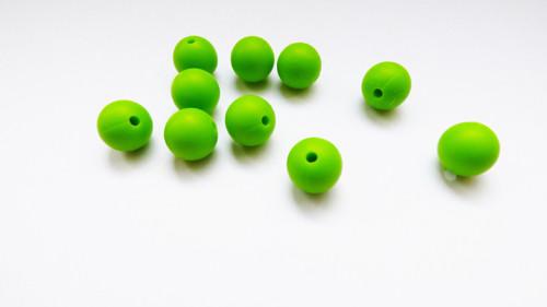 Silkonové korálky- zelené 10 ks**AKCE**