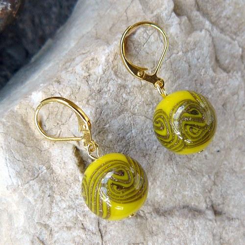 Náušnice točené koule, žlutá + avanturín