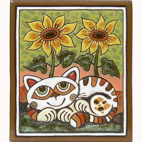 Keramický obrázek - Kočka a slunečnice K-113-Z