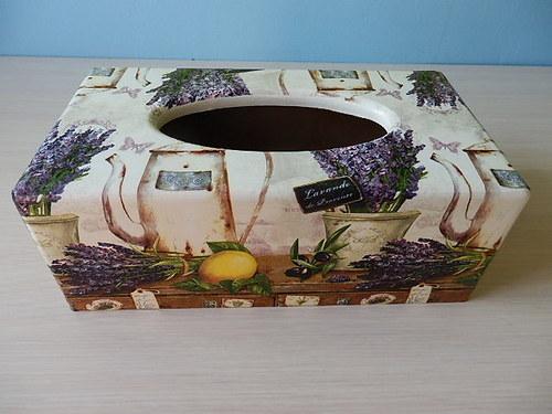 Krabička na kapesníky Levandulové zátiší