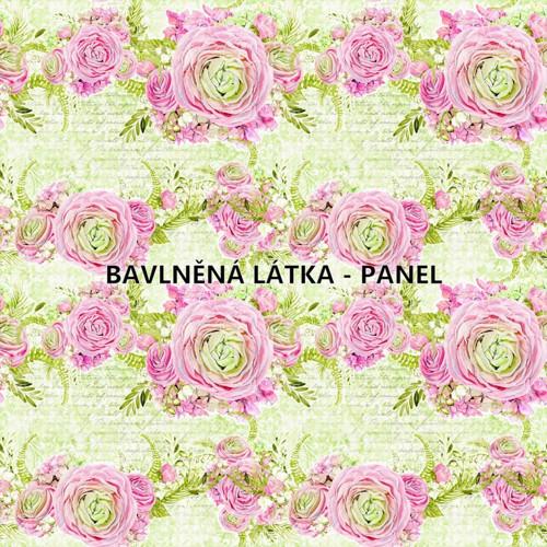 bavlněná látka- panel 16x16 cm KOLEKCE RŮŽE