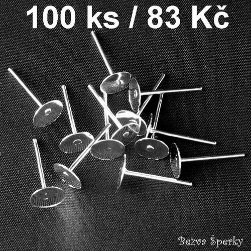 Stříbrné náušnicové základy 6mm, 100 ks