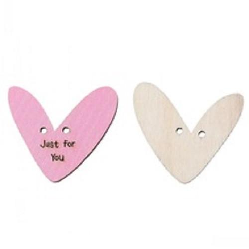 Dřevěné knoflíčky srdce Just for you