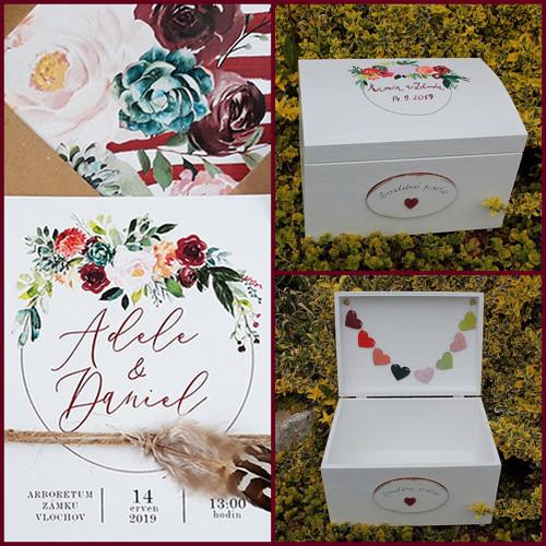 Svatební maxi truhla BURGUNDY - svatební pošta