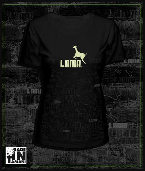 Dámské tričko černé design Lama 11