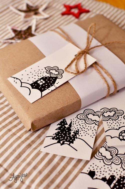 Cedulky na dárky – Sněžopršo  (3x5 ks) K TISKU