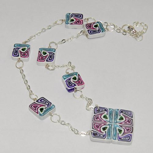Barevný náhrdelník z fimo čtverečků
