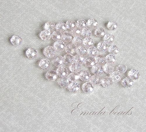 Broušené rondelky, světle růžová 0,5 x 0,4 cm