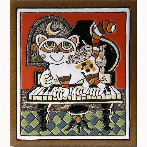 Keramický obrázek - Kočka a klavír K-150-L
