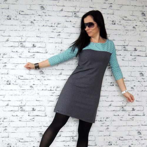 Antracitové šaty se sedlem...M