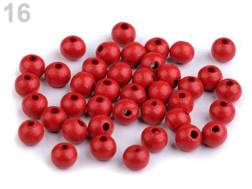 Dřevěné korálky Ø8mm (cca 60ks) - červená