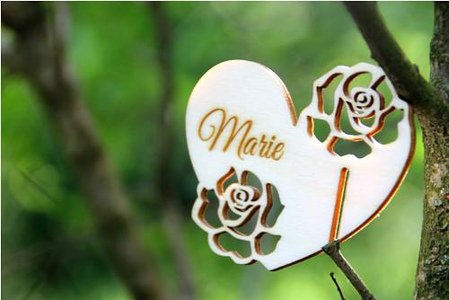 """Dřevěná jmenovka růže \""""Marie\"""""""