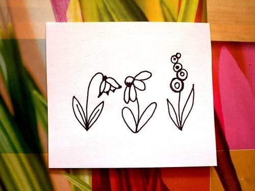 Květinky s bledulí... 3 ks. Omyvatelná.