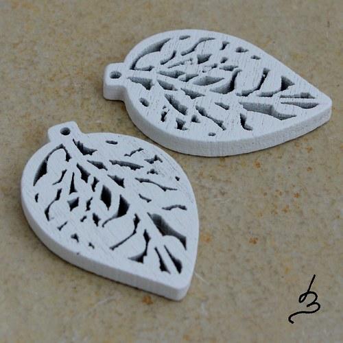 Dřevěný list bílý - 4 ks