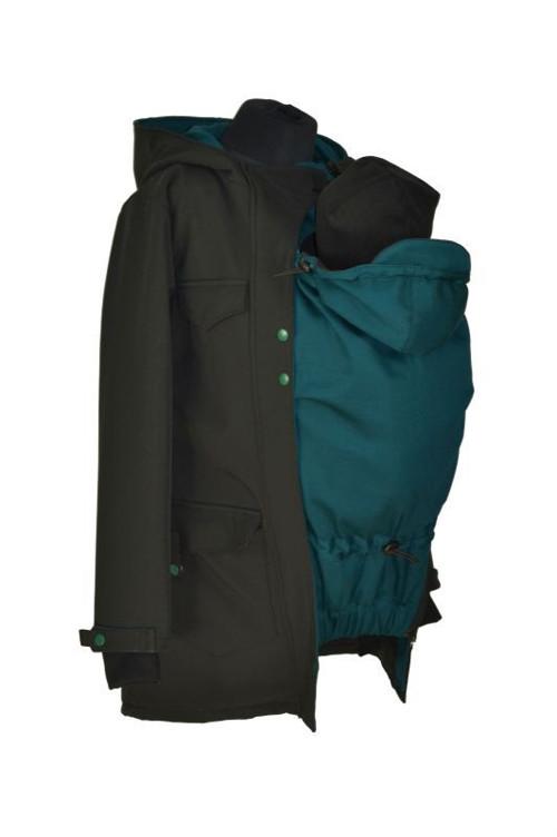 Softshel.kabát nosící, zimní-černý+tmavý petrolej