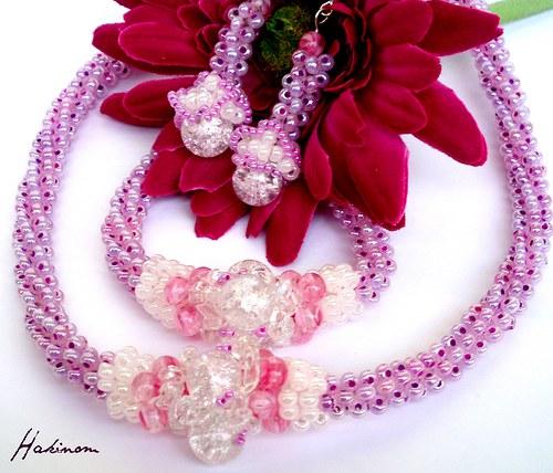 Růžové opojení-náhrdelník, náramek, náušnice