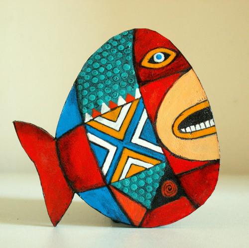 Ryba - velká kožená brož