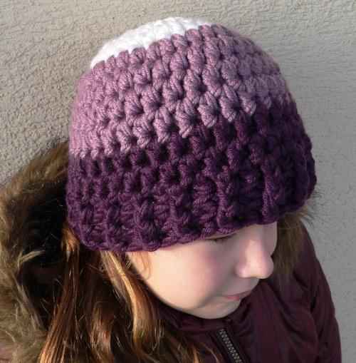 Fialová konbinovaná čepice
