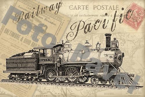 Vintage motiv - parní lokomotiva 12