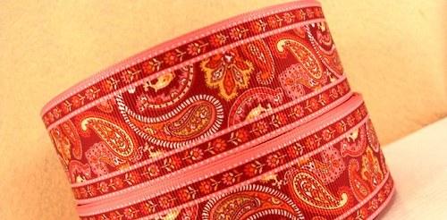 Stuha rypsová š.38 mm:Paisley červená