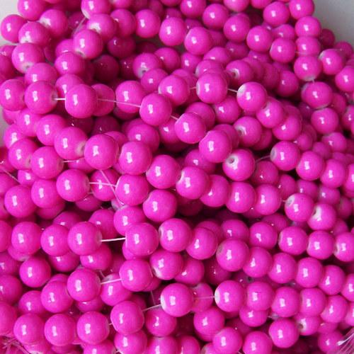 skleněné korálky LESK/ růžová střední / 8mm/14ks